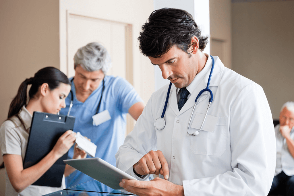 Doctor using Cority Software to management cases