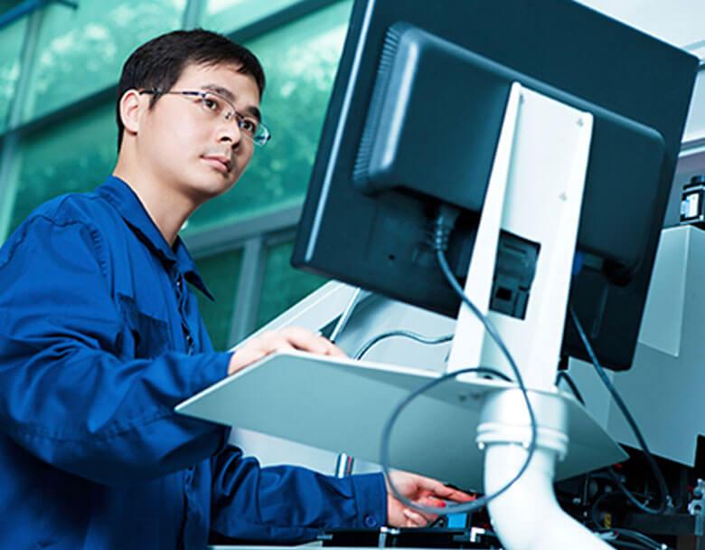 Worker doing analytics