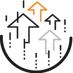 Maximize Efficiencies icon with arrows on circle