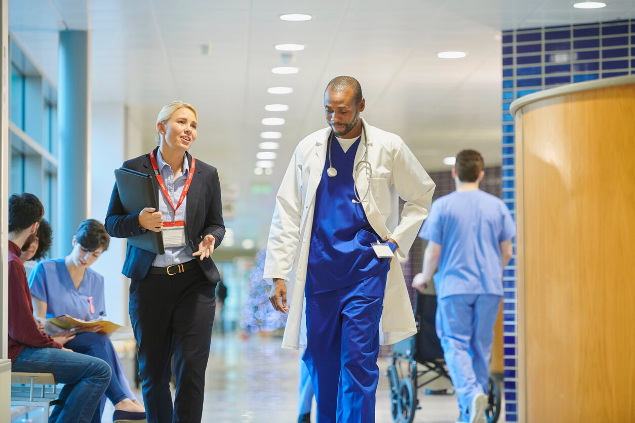 Two doctors walking in hospital