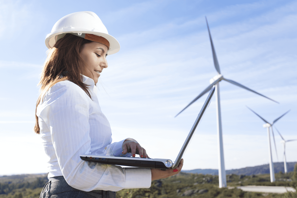 Public sector and government industries - photo of a surveyer in front of green energy